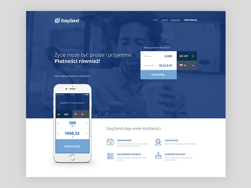 EasySend landing page landing page easy send blue concept branding flat web