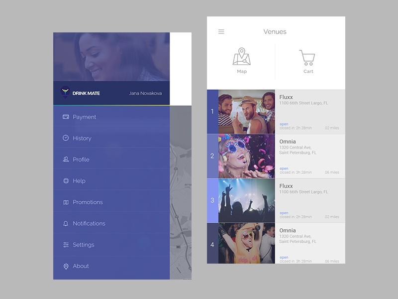 Drink Mate app drink mate list purple blue cart design ui app ux flat