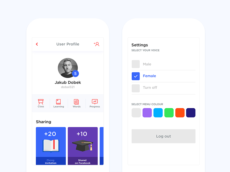 AI App - User Profile ux ui interface education app ai