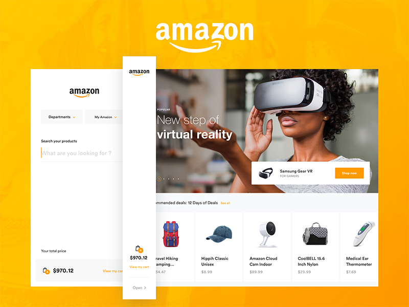Amazon Concept - Home Page amazon concept redesign ui ux home page slide products thumbnails