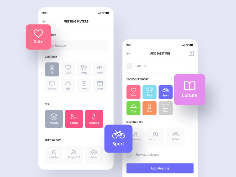 Heyway application - Filters heyway app interface socialapp mobile application meeting mobile ui ux ui flat boxes category app design itcraft ios