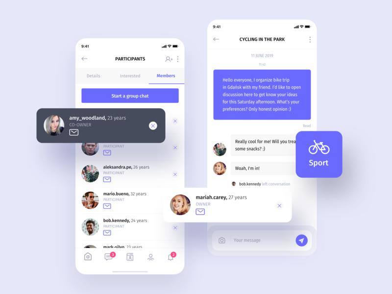 Heyway application - chat feature community meetings meetpeople application social socialapp mobile ux uiux ui heyway