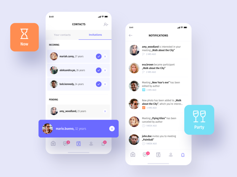 Heyway application - Clients and Notifications screens ui ux app flat mobile social social media meet meet people ios itcraft design interface