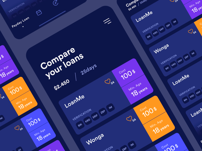 Concept of mobile app for the loan company - dark template blue product design interface flat itcraft ui ux app concept mobile loans mobileapp appscreens
