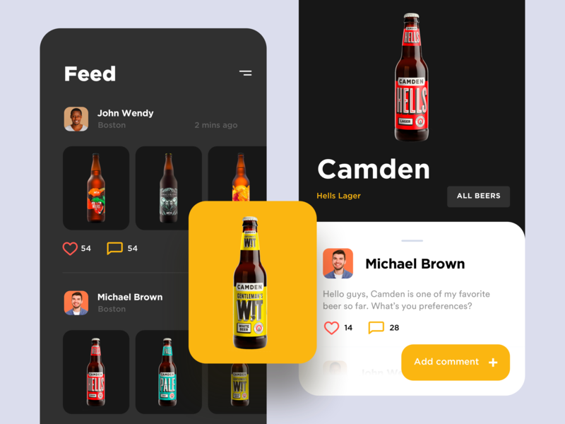Concept app for the community of craft beer lovers itcraft appscreens mobileapp socialapp craftbeer beer beers interface flat mobile app ux ui