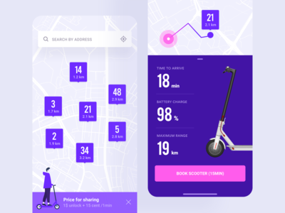 Scooter sharing mobile app