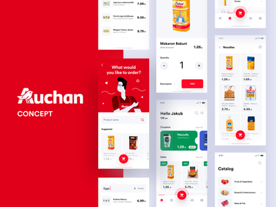 Auchan redesign concept branding ios design interface flat mobile shop mcommerce ui ux clean application app auchan redesign concept