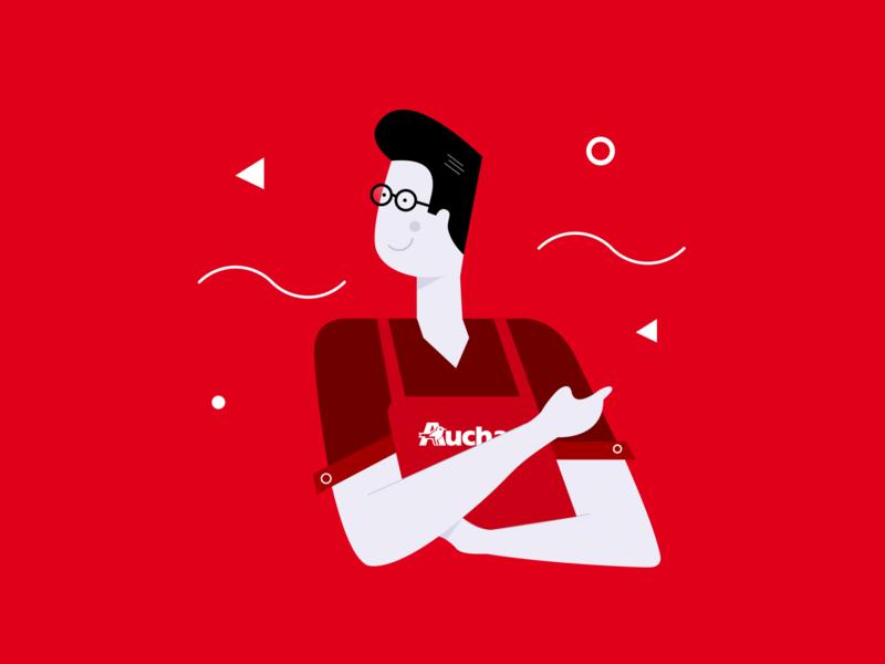 Auchan illustration concept vector design branding illustration art shop redesign concept brandhero auchan illustration