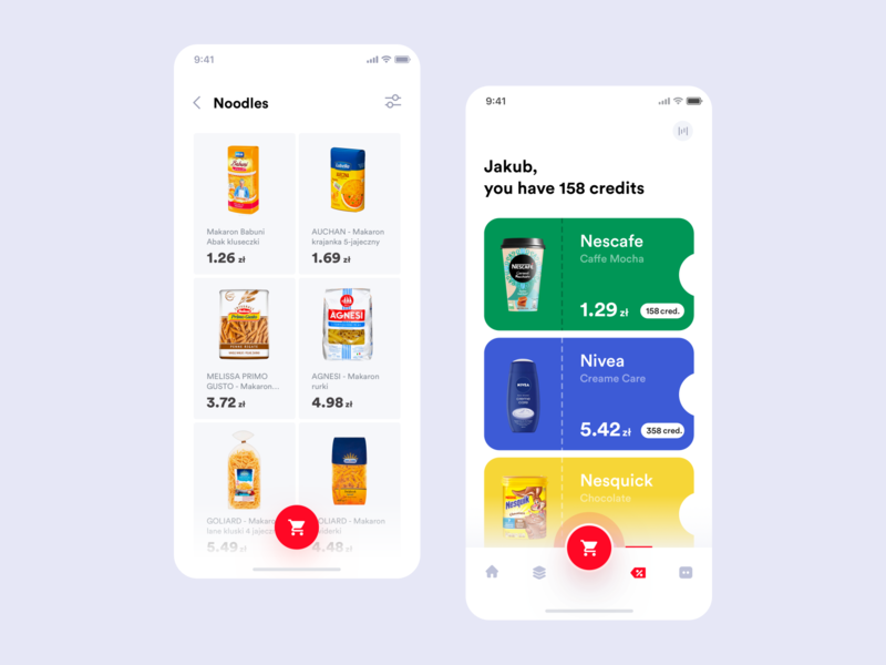 Auchan redesign concept - products list & coupons concept itcraft design interface flat mobile app ux ui coupons list product