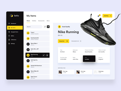Sellio - Your Items ux ui flat ecommerce clothes nikes shoes products sellio swap manage dashboard