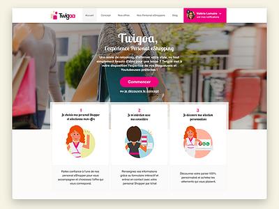 Twigoa - personal Shopping girls girly landing page webdesign design ux ui personal eshopping twigoa