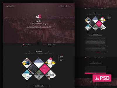 Free download One page ux ui download free portfolio page one