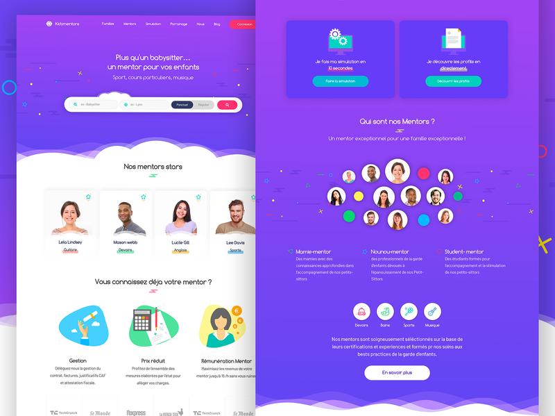Kidymentors vector webdesign design ui ux app ux design ui design ui  ux design service offer funny fun kids purple home landing