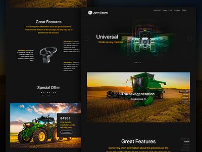 John Deere landing landing page landing homepage home offer webdesign design ux ui tractor