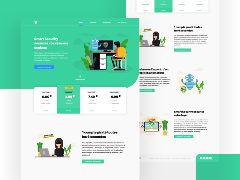 Landing page - Secure your social networks flat minimal social data home desktop security computer green yellow thief robot blue ui design ui illustration