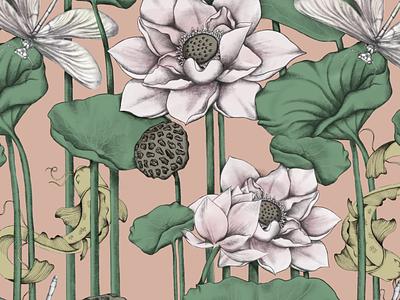 Lotus Habitat procreate art procreate drawing wallpaper design textile pattern textile design textile print wallpaper pattern design surface design surface pattern illustration