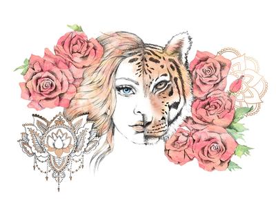 Zen Tigress Illustration art drawing illustration