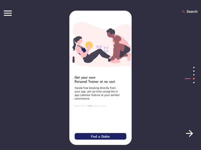 Dokta Mobile Personal Trainer page