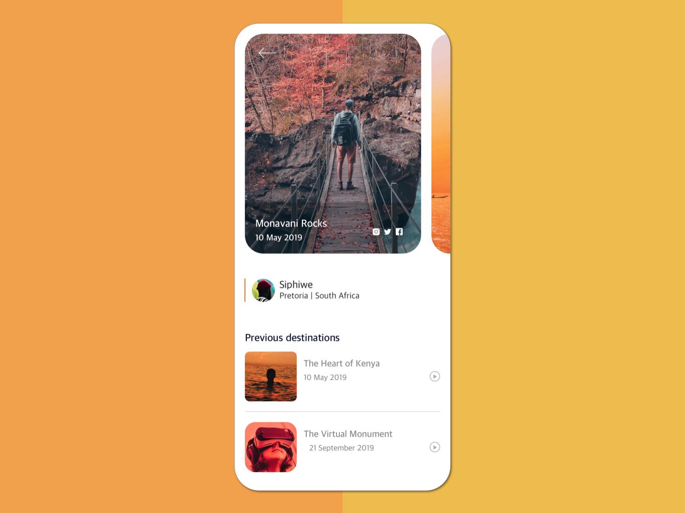 Destination App -  Concept destination travel mobile minimal app concept uxdesign ux uidesign ui interface product design