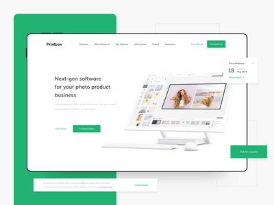 Printbox Website white space website design clean design 3d animation ui interaction saas landing page