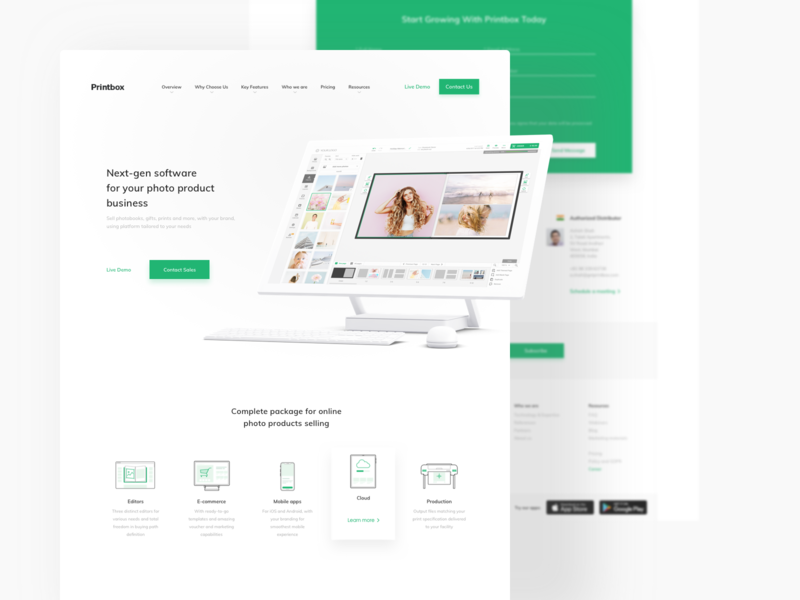 Printbox Website - Whole View web ux green white clean design 3d mockup iconography saas landing page whitespace webdesign