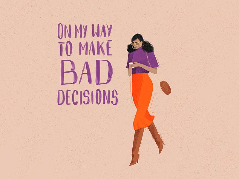 Decisions woman illustration handlettering character design character art cartoon design cartoon character cartoon art cartoon typography illustration drawing art design