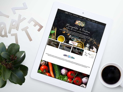 Marigolds and onions watercolor illustration food catering ui design web brochure site responsive web design