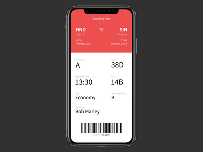 DailyUI 24 - Boarding pass boardingpass dailyui