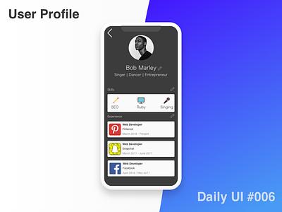 User Profile - #006 #Dailyui user profile dailyui