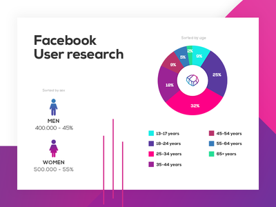 Facebook  User Research Infographic research piechart infographic