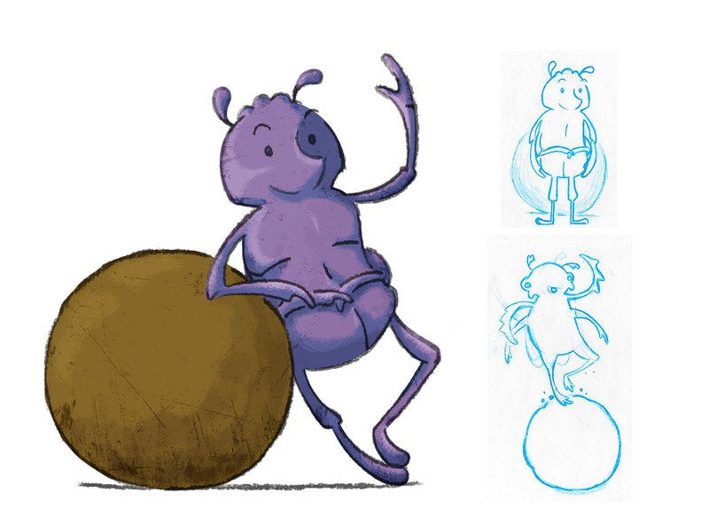 Dung Beetle sketch process illustration beetle bug poop dung beetle