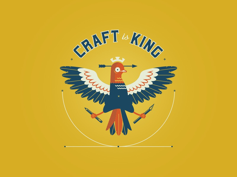 Dovetail: Craft is King craftmanship vector illustration crown arrow craft dovetail dove bird