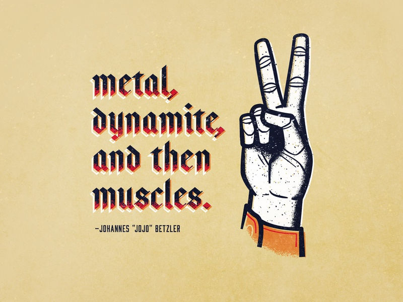 the strongest thing in the world peace rabbit muscles dynamite metal hand vector illustration
