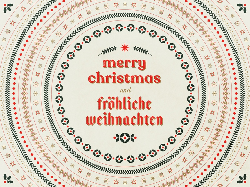 Merry Christmas und Fröhliche Weihnachten type wreath star holly garland evergreen snowflake pattern weihnachten christmas