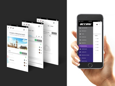 ACCESI grey concept mobile mock screen app layout ui user interface