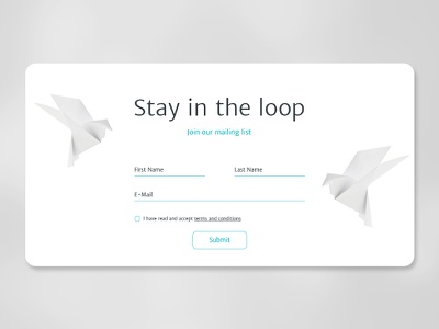 Stay in the loop imagination popup birds origami form join subscription marketing email