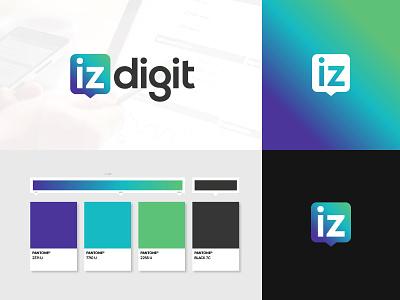 Izdigit digital marketing agency advertising agency marketing digital social icon logo pantone vignette gradient identity branding