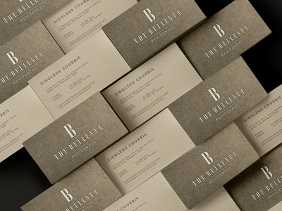 The Bellevue Residences business card branding design logo identity illustration typography type mark hotel gold visual identity
