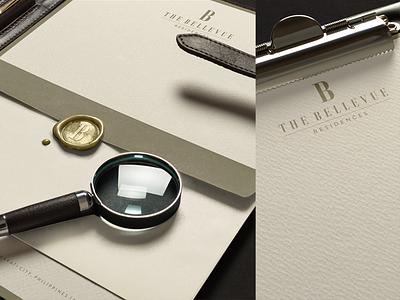 The Bellevue Residences letterhead stationery visual identity gold hotel mark type typography illustration identity logo branding