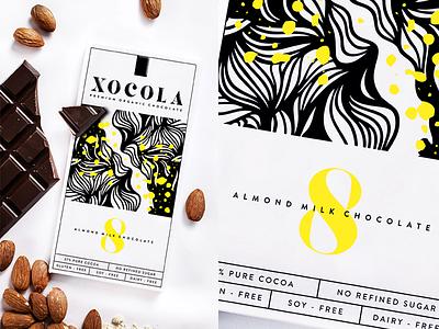 XOCOLA Organic Chocolate visual identity yellow chocolate cacao type color illustration identity logo packaging design branding