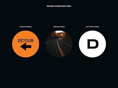Detour Logo highway detour road typography brand mark symbol design branding logo