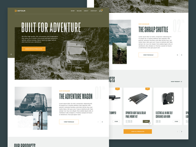 Detour Website ecommerce surf bike mercedes van explore adventure website design ux ui