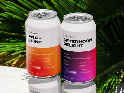 Cold Brew Cans typography minimal clean package design gradient packaging can coffee gradient