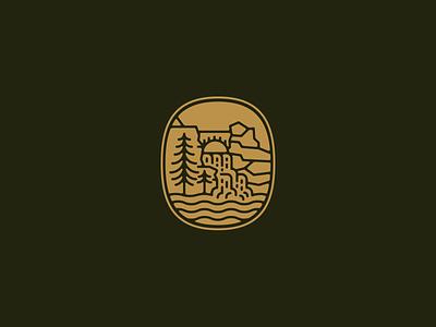 Park Badge vintage outdoor badge patch tree cliff waterfall park outdoors adventure badge branding logo