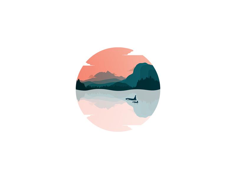 My Hometown  mountain ocean killer whale orca minimal sunset bc squamish illustration