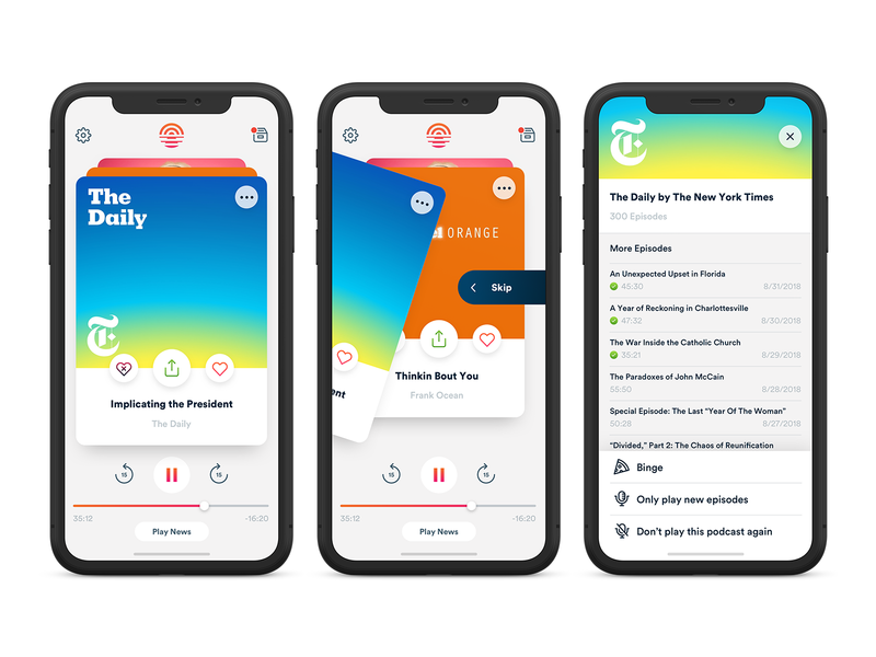 Camino UI app design app uiux play controls music player news podcast music swiping gesture design uidesign iphonex mobile ui