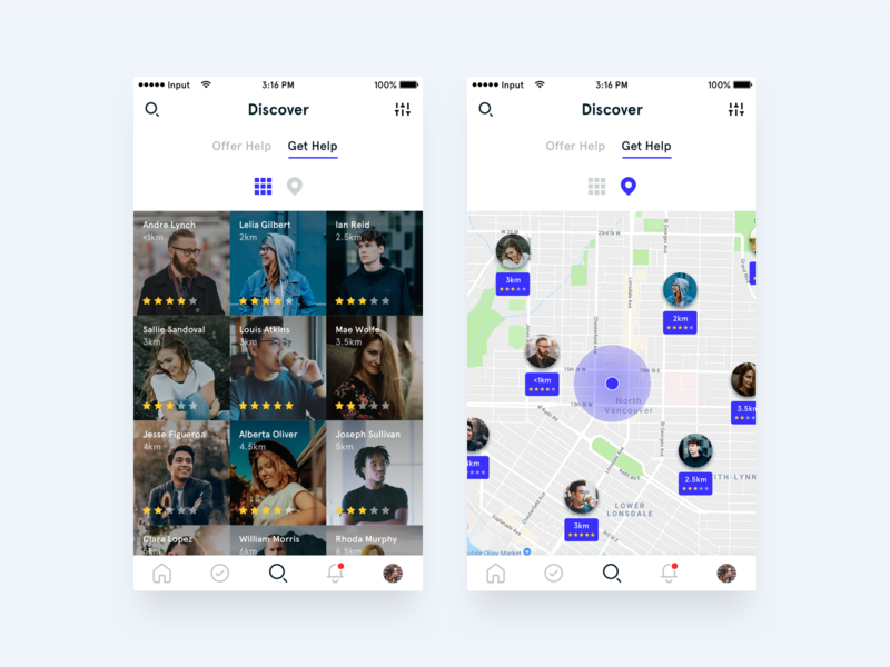 Grid & Map View interface map view map grid layout grid design clean app ui