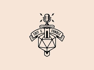 Crit & Fumble Badge branding design illustration podcast badge logo