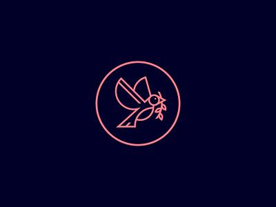 Dove bird line art dove mark symbol design icon illustration branding logo