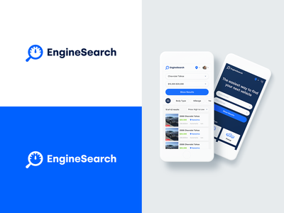 EngineSearch Branding icon symbol design used car search logo search listings auto cars branding logo